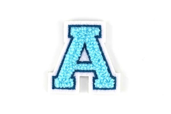 Kleine Frottee-Buchstaben 4,2 cm hoch | Türkis, Petrol, Weiß | Varsity Letter