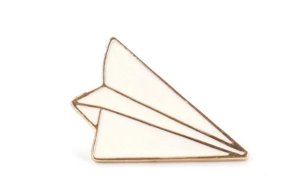 Pin Papierflieger | Flugzeug | Weiß Gold