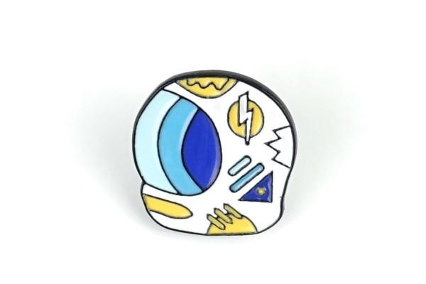 Pin Astronauten-Helm | Weiß Blau Gelb