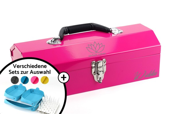 einfach nähen Toolbox-Set | Pink mit Logo + Name | Metall
