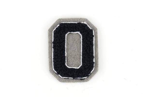 Kleine Frottee-Zahl 4,2 cm hoch | Schwarz, Weiß, Grau | Varsity Number