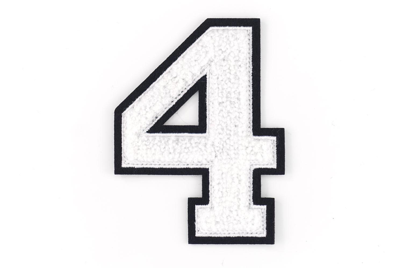 Frottee Zahl 0 9 | Weiß, Schwarz | 9,5 cm hoch | Varsity Number