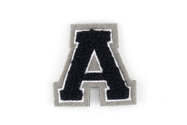 Kleine Frottee-Buchstaben 4,2 cm hoch | Schwarz, Weiß, Grau | Varsity Letter