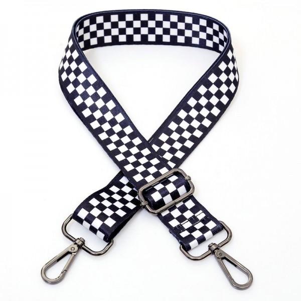 Taschengurt Checkered Flag   Karos   Schwarz, Weiß   verstellbar mit Karabinern