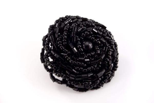 Schwarze Blume | Knopf | Perlen