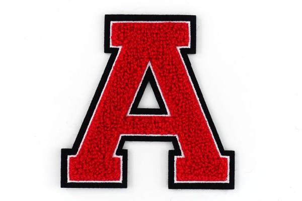 Frottee Buchstabe A-Z | Rot, Weiß, Schwarz | 9,5 cm hoch | Varsity Letter