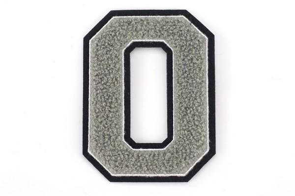 Frottee Zahl 0-9   Grau, Weiß, Schwarz   9,5 cm hoch   Varsity Number
