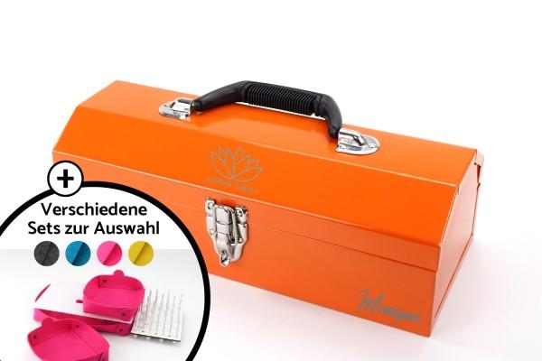 einfach nähen Toolbox-Set   Orange mit Logo + Name   Metall