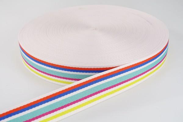 Gurtband Weiß-bunte Streifen | 3,8 cm breit | Meterware
