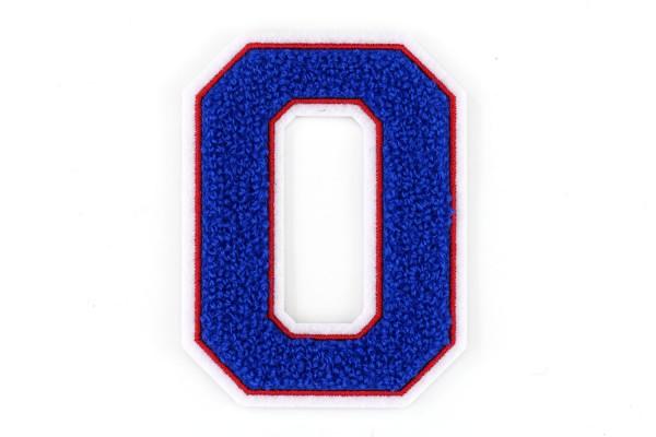 Frottee Zahl 0-9 | Blau, Rot, Weiß | 9,5 cm hoch | Varsity Number