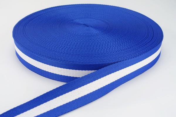 Gurtband Royalblau-Weiß gestreift | 3,8 cm breit | Meterware