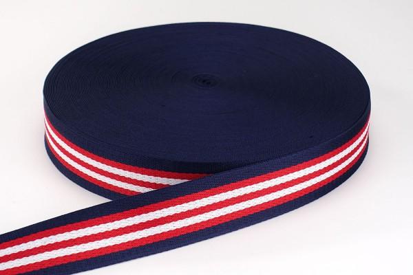Gurtband maritime Streifen Rot, Weiß & Blau | 3,8 cm breit | Meterware