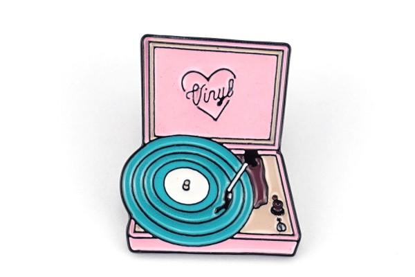 "Pin ""Vinyl"" Plattenspieler | Rosa Türkis"