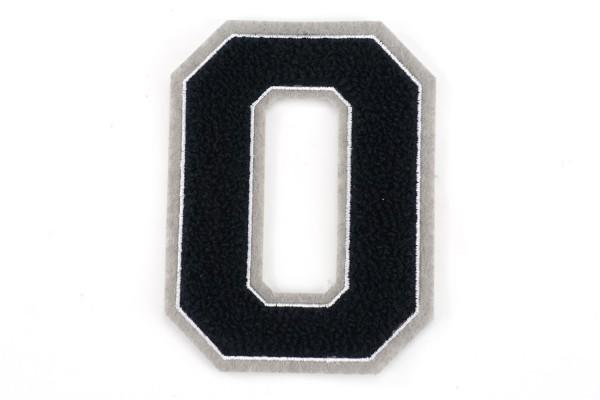 Frottee Zahl 0-9   Schwarz, Weiß, Grau   9,5 cm hoch   Varsity Number