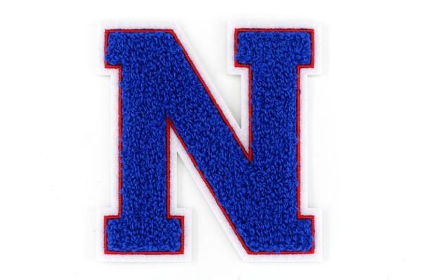 Frottee Buchstabe A-Z | Blau, Rot, Weiß | 9,5 cm hoch | Aufnäher Patch