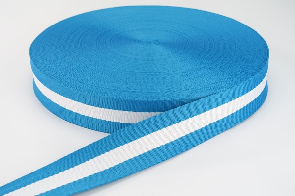 Gurtband Türkis-Weiß gestreift | 3,8 cm breit | Meterware
