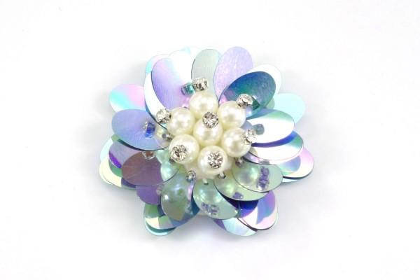 Blaue Blume Aufnäher | Patch | Pailletten & Perlen