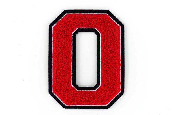 Frottee Zahl 0-9 | Rot, Weiß, Schwarz | 9,5 cm hoch | Varsity Number