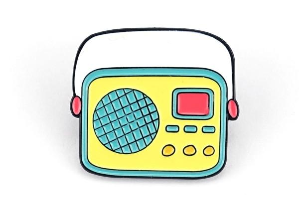 Pin Retro Radio | Türkis Gelb Himbeer