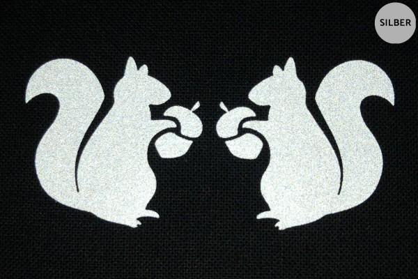 Eichhörnchen Paar | Reflektierendes Bügelbild Meterware | 2,5 cm |