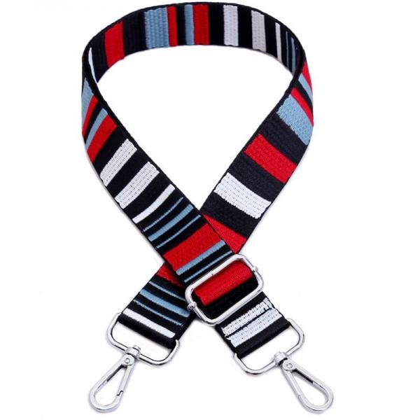 Taschengurt Grafische Streifen | Schwarz, Blau, Rot, Weiß | verstellbar mit Karabinern