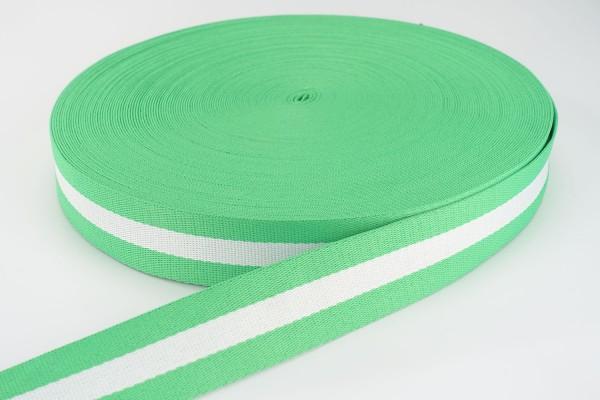 Gurtband Hellgrün-Weiß gestreift | 3,8 cm breit | Meterware