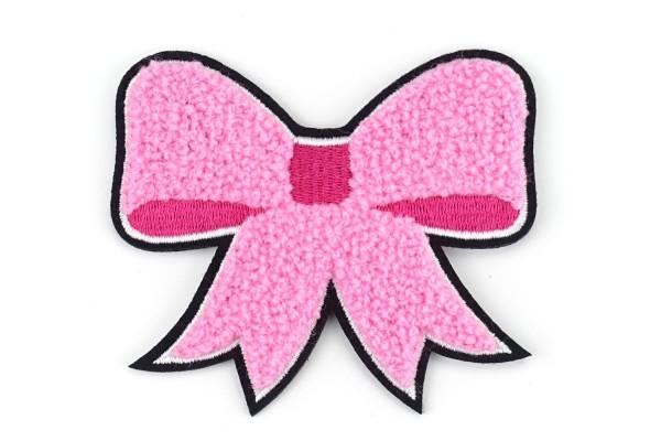 Aufnäher Schleife | Rosa, Pink, Weiß, Schwarz | 8,5 x 7 cm | Patch
