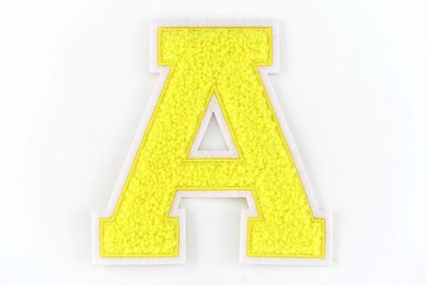Frottee Buchstabe A-Z | Gelb, Weiß | 9,5 cm hoch | Varsity Letter