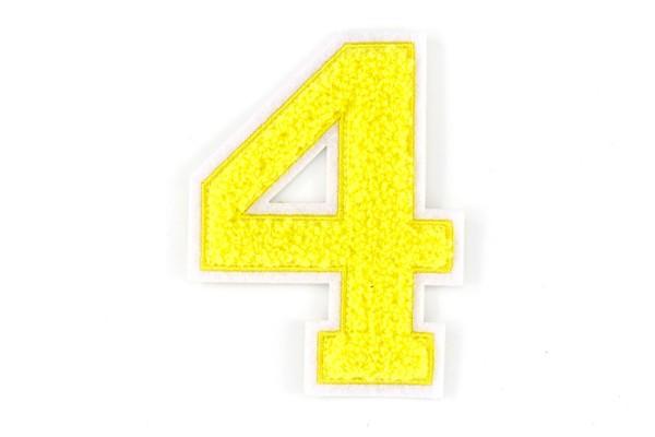 Frottee Zahl 0-9   Gelb, Weiß   9,5 cm hoch   Varsity Number