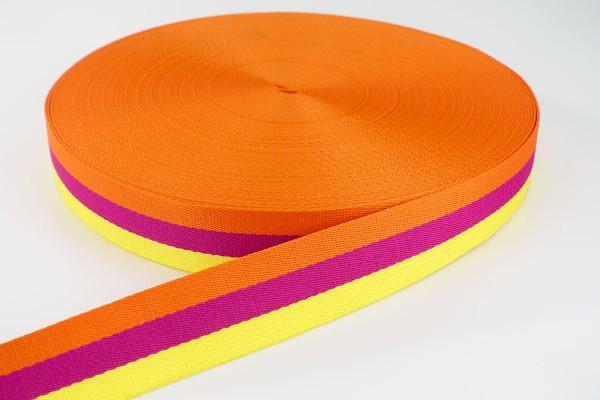 Gurtband Streifen Orange, Pink & Gelb | 3,8 cm breit | Meterware
