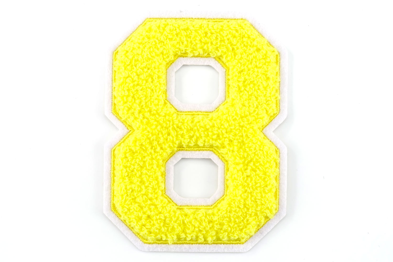 Frottee Zahl 0 9 | Gelb, Weiß | 9,5 cm hoch | Varsity Number