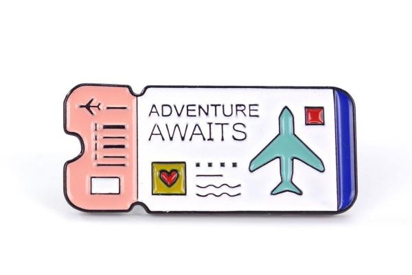 "Pin Flugticket | Boarding Pass ""Adventure awaits"""