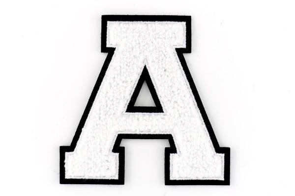 Frottee Buchstabe A-Z | Weiß, Schwarz | 9,5 cm hoch | Varsity Letter
