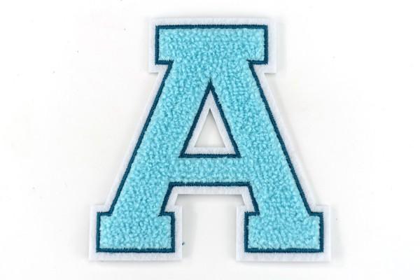 Frottee Buchstabe A-Z | Türkis, Petrol, Weiß | 9,5 cm hoch | Varsity Letter