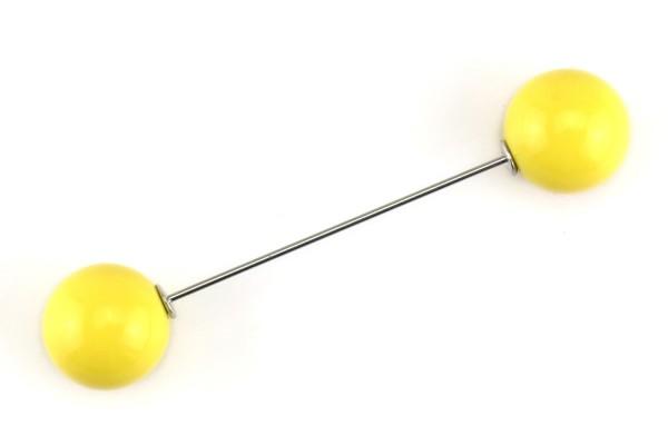 Pin mit zwei Kugeln | Gelb | 7 cm