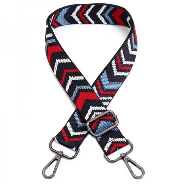 Taschengurt mit grafischem Muster | Schwarz, Blau, Rot, Weiß | verstellbar mit Karabinern