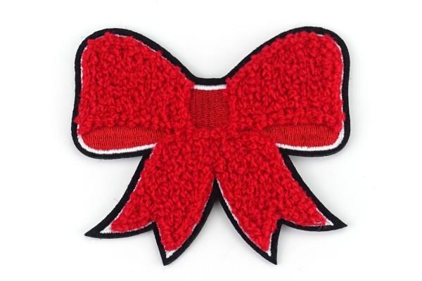 Aufnäher Schleife | Rot, Weiß, Schwarz | 8,5 x 7 cm | Patch