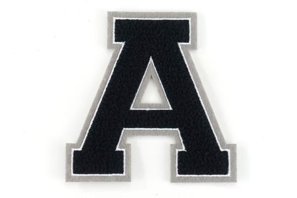 Frottee Buchstabe A-Z   Schwarz, Weiß, Grau   9,5 cm hoch   Varsity Letter