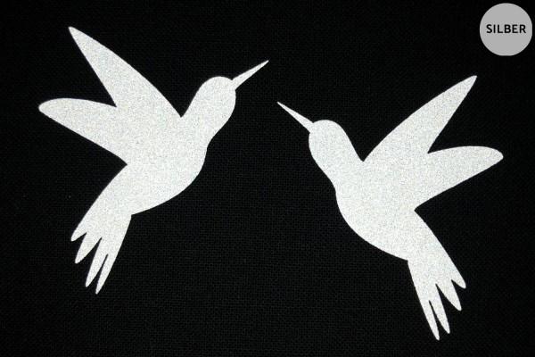 Kolibri Paar | Reflektierendes Bügelbild | 5 cm |