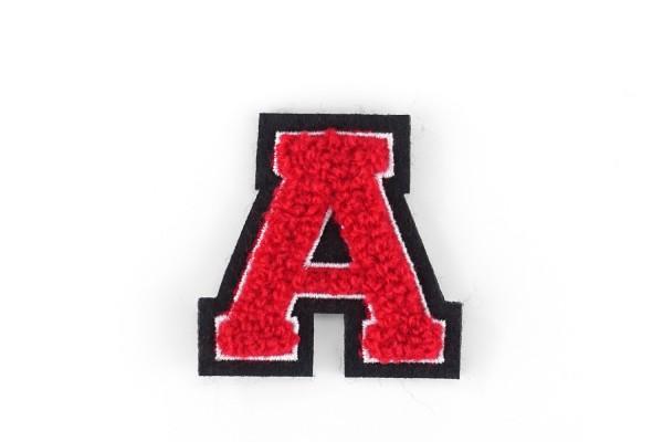 Kleine Frottee-Buchstaben 4,2 cm hoch | Rot, Weiß, Schwarz | Varsity Letter