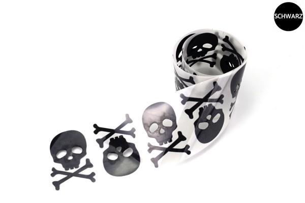 Totenkopf Paar | Reflektierendes Bügelbild Meterware | 5 cm |
