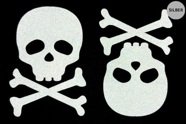 Totenkopf Paar | Reflektierendes Bügelbild | 5 cm |