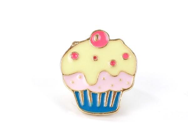 "Pin ""Cherry on the Cake"" | Cupcake | Türkis Pink Weiß"