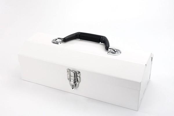 Aufbewahrungsbox | Toolbox aus Metall | 36 x 15 x 13 cm | Weiß