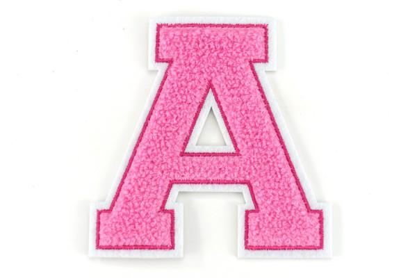 Frottee Buchstabe A-Z | Rosa, Pink, Weiß | 9,5 cm hoch | Varsity Letter