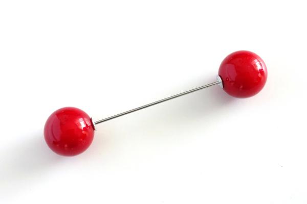 Pin mit zwei Kugeln | Rot glänzend | 7,5 cm
