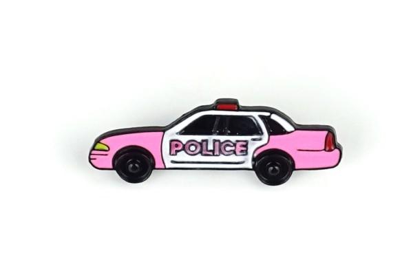 Pin Polizei-Auto | Police Car | Neon Pink Weiß