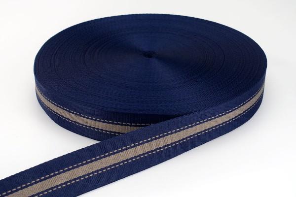 Gurtband Streifen Dunkelblau & Braun | 3,8 cm breit | Meterware