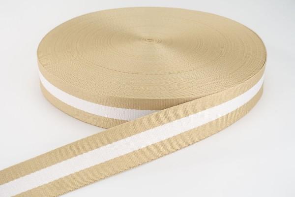 Gurtband Beige-Weiß gestreift | 3,8 cm breit | Meterware