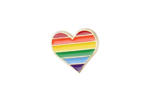 Emaille Pin buntes Regenbogen-Herz   Rainbow Anstecker